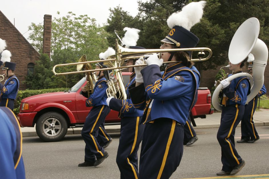 Members of the Platt High School marching band perform during Meriden