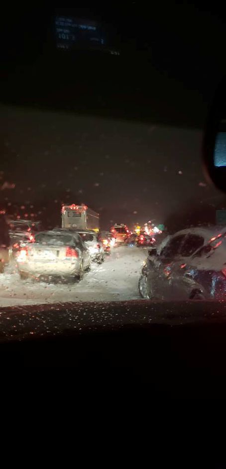 It took Meriden resident Melissa Zoni five hours to get home on Thursday night, thanks in large part to the severe traffic on I-691/ Photo courtesy of Melissa Zoni.