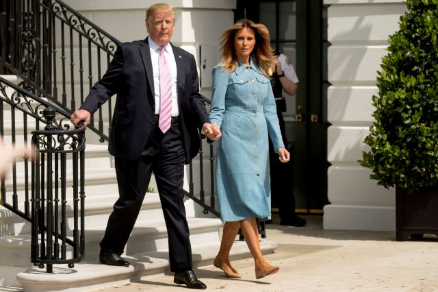 President Donald Trump and first lady Melania Trump arrive for the annual White House Easter Egg Roll on the South Lawn of the White House, Monday, April 22, 2019, in Washington. (AP Photo/Andrew Harnik)