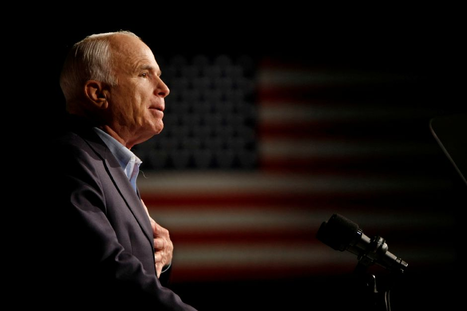 FILE - In this Oct. 11, 2008, file photo, Republican presidential candidate Sen. John McCain, R-Ariz., speaks at a rally in Davenport, Iowa. Arizona Sen. McCain, the war hero who became the GOP
