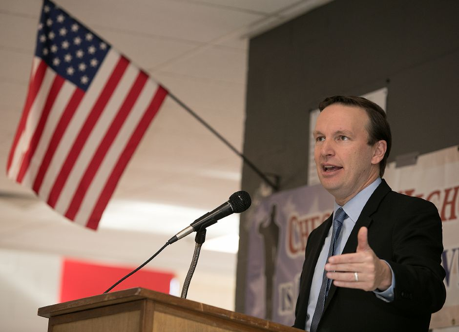 U.S. Senator Chris Murphy speaks during a Veterans Day Celebration at Cheshire High School, Friday, Nov. 10, 2017. | Dave Zajac, Record-Journal