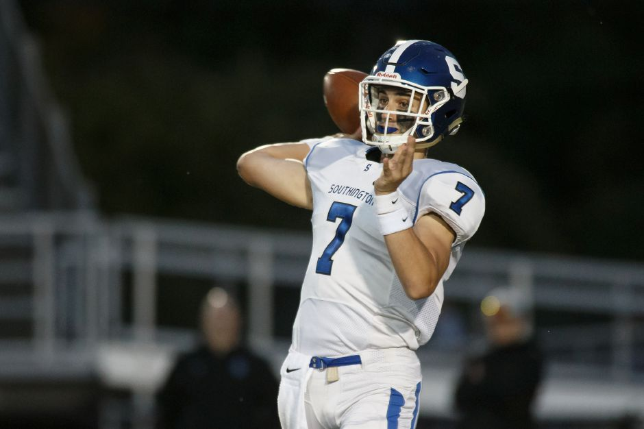 Southington quarterback Jacob Drena threw for 290 yards and four touchdowns Thursday night as the Blue Knights improved to 8-0 with a 51-19 win in Enfield. | Justin Weekes / Special to the Record-Journal