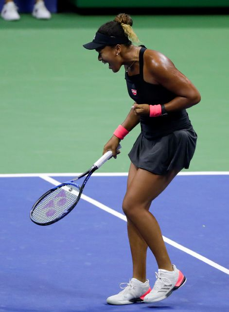Naomi Osaka, of Japan, reacts after winning a point against Madison Keys during the semifinals of the U.S. Open tennis tournament, Thursday, Sept. 6, 2018, in New York. (AP Photo/Frank Franklin II)