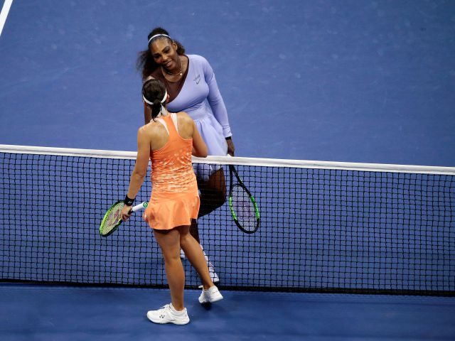 Serena Williams shakes hands with Anastasija Sevastova, of Latvia, after Williams defeated Sevastova in the semifinals of the U.S. Open tennis tournament, Thursday, Sept. 6, 2018, in New York. (AP Photo/Andres Kudacki)