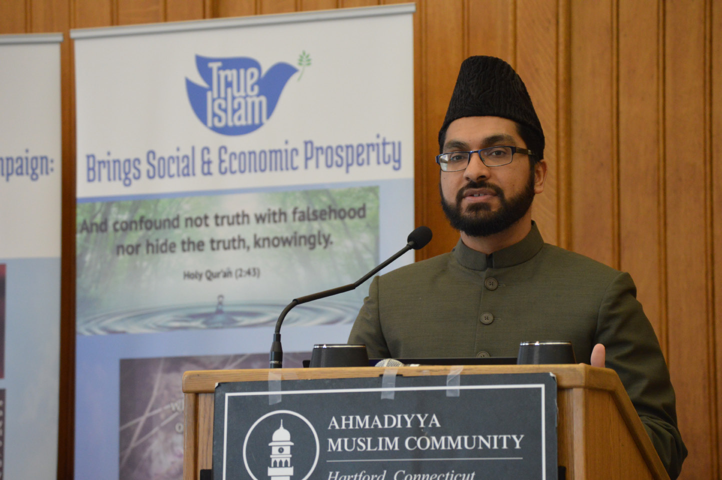 Hamid Malik, regional missionary in charge of the New England and upstate New York Ahmadiyya muslim communities, speaks during an event Thursday at the Capitol hosted by the Ahmadiyya Community of Connecticut. | Mike Savino, Record-Journal
