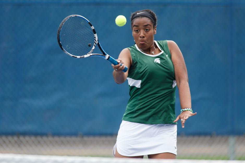 Tatyana Inman and doubles partner Rachel Lawlor won their match at No. 2 doubles in Saturday's Class M qualifying round clash with Fitch in East Lyme. | Justin Weekes / Special to the Record-Journal