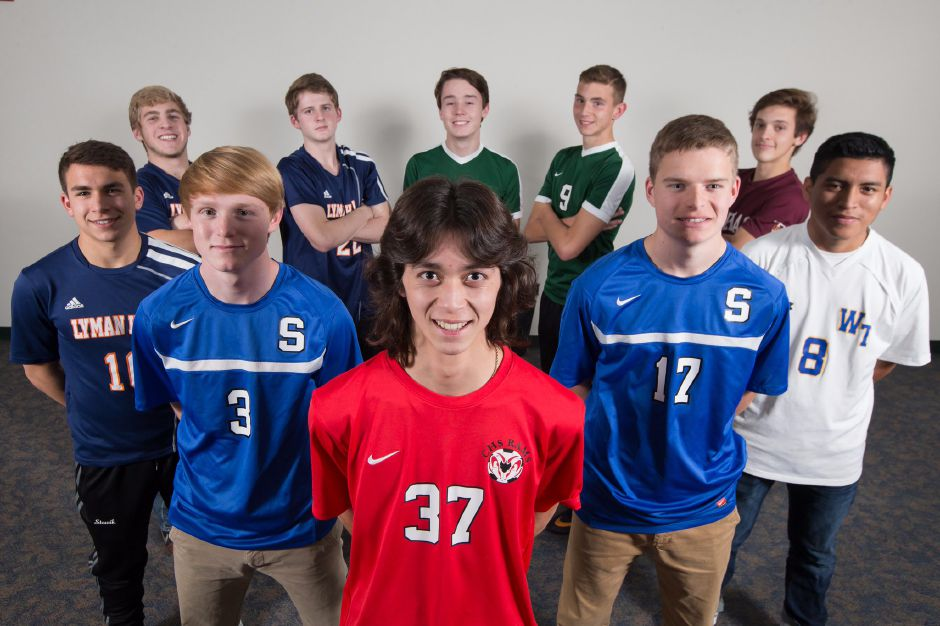 Introducing the 2017 All-Record-Journal boys soccer team. In the back row, from left, are Lyman Hall's Jack Gaynor and Kevin Ransom, Maloney's Bryan Brazel and Ben Pierce, and Sheehan's Jason Umbehr. In front, from left, are Lyman Hall's Tyler Stowik, Southington's Kieran Tindall, Cheshire's Toby Goldstein, Southington's Hayden Burbank and Wilcox Tech's Kelvin Cortez. Justin Weekes, Special to the Record-Journal