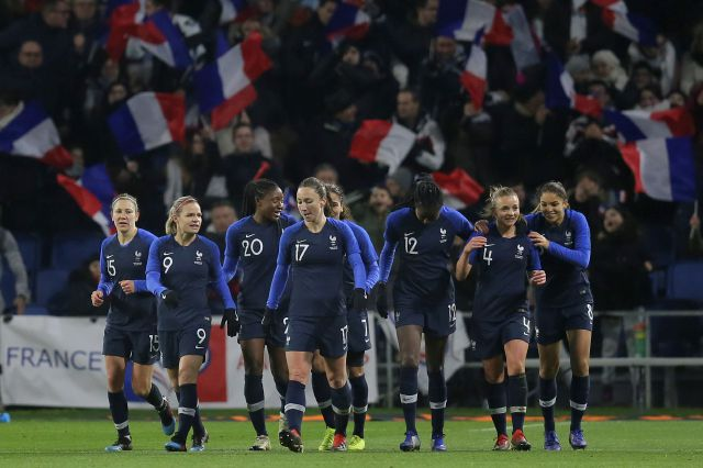 France players celebrate after teammate Kadidiatou Diani, third left, scored their side