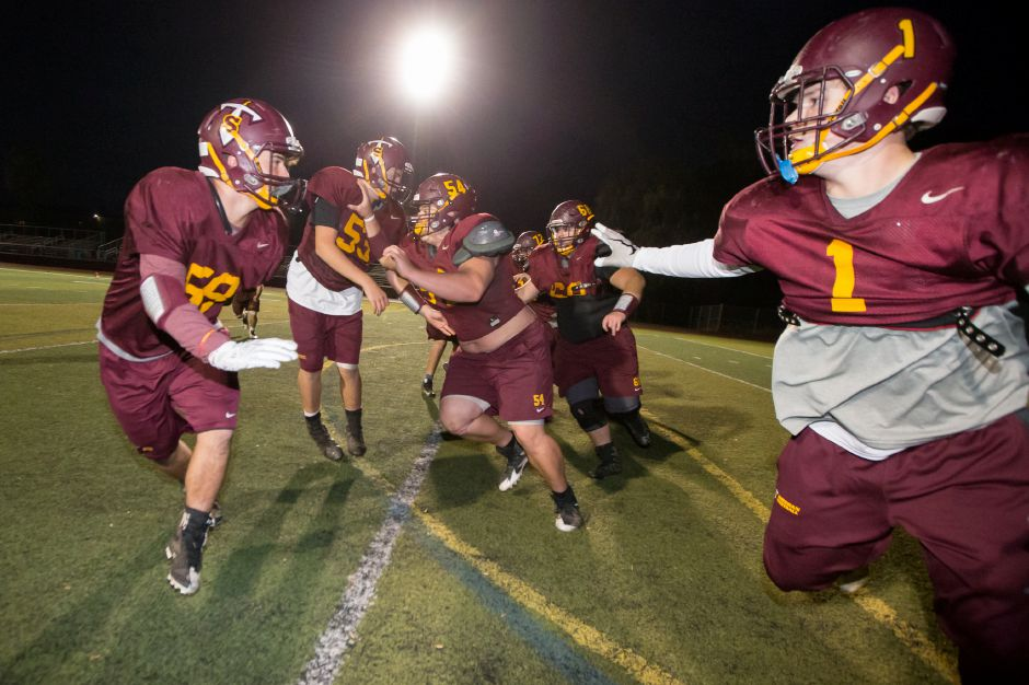 Tuesday as the Titans prepare for the Carini Bowl at Sheehan High School in Wallingford November 14, 2017 | Justin Weekes / For the Record-Journal