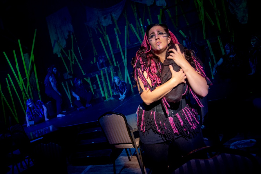 Amelia Nemeth, playing Kala, performs during preview night of Tarzan at the Square Foot Theatre in Wallingford. | Richie Rathsack, Record-Journal