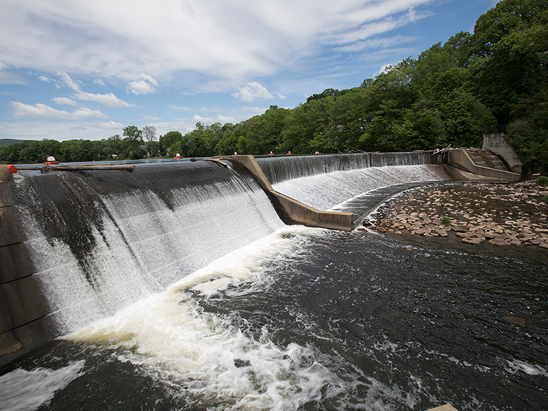The dam at Hanover Pond in Meriden Wednesday, May 24, 2017.  | Dave Zajac, Record-Journal