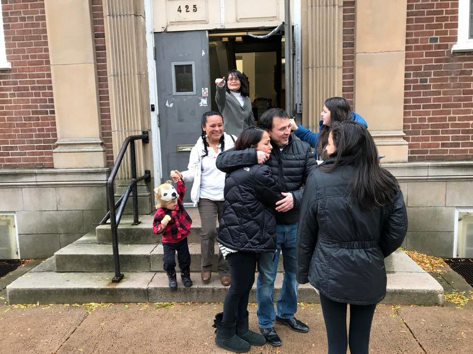 Undocumented Meriden resident Marco Reyes leaves the First and Summerfield United Methodist Church in New Haven for the first time in three months. | Photo courtesy of Jesus Morales