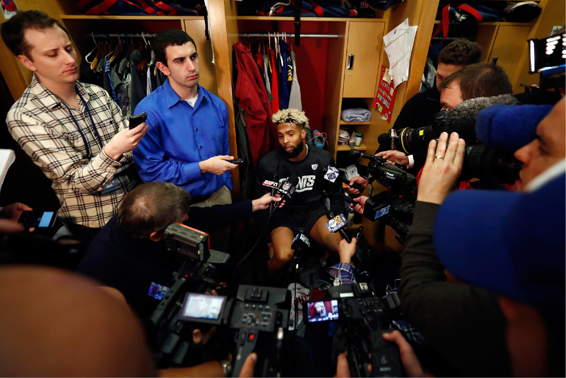 New York Giants wide receiver Odell Beckham talks to reporters during NFL football practice, Wednesday, Dec. 7, 2016, in East Rutherford, N.J. The Giants will play the Dallas Cowboys, who are 11-1, on Sunday. (AP Photo/Julio Cortez)