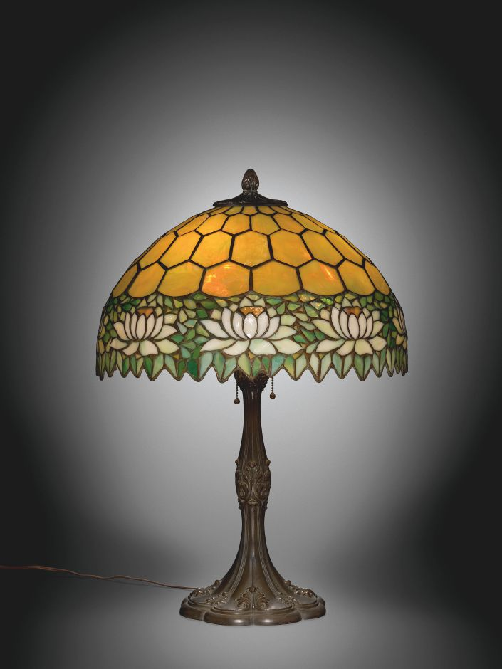 Lamp with Water Lily Shade, Handel Company, Meriden, CT, 1900-1920. Gift of Anna and Karl Koepke. Image Courtesy Corning Museum of Glass.