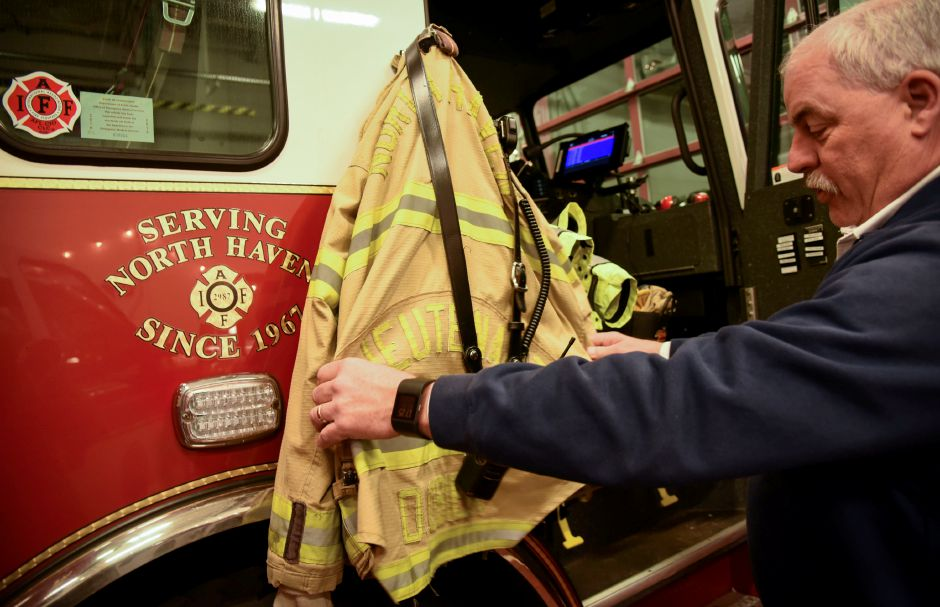 North Haven Fire Chief Paul Januszewski shows off some equipment on Thursday, Dec. 13, 2018 | Bailey Wright, Record-Journal