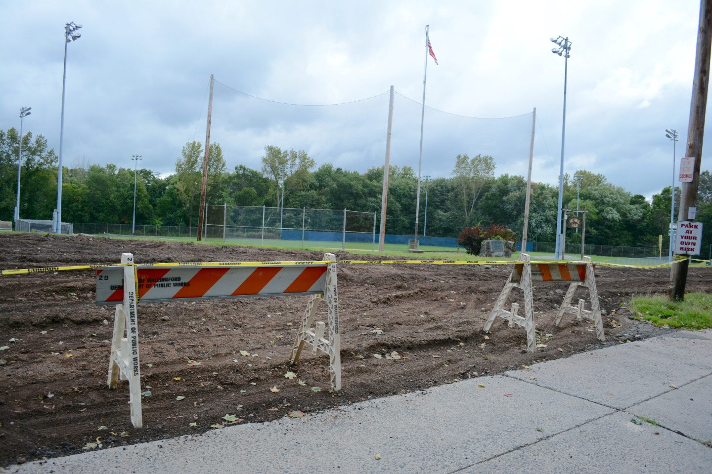 Construction on Pat Wall Field in Wallingford on Wednesday, Aug. 7. | Bryan Lipiner, Record-Journal