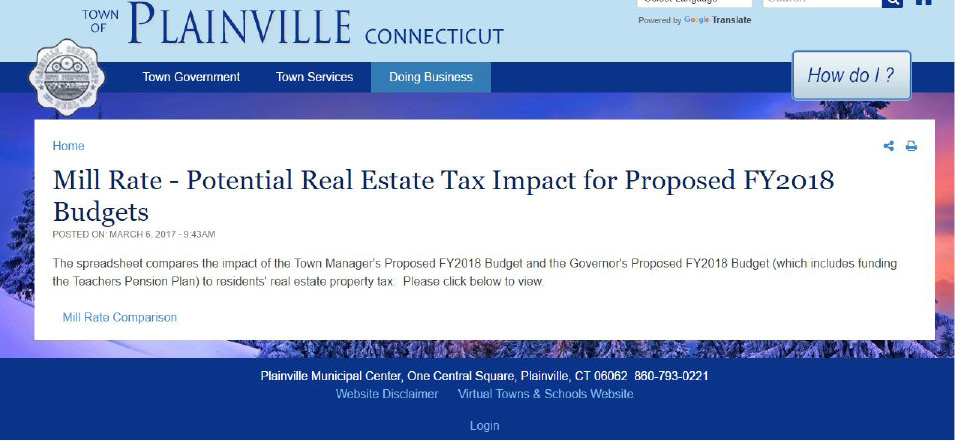 Plainville mill rate comparison spreadsheet lets property owners look up their taxes for the town and state proposed budgets.