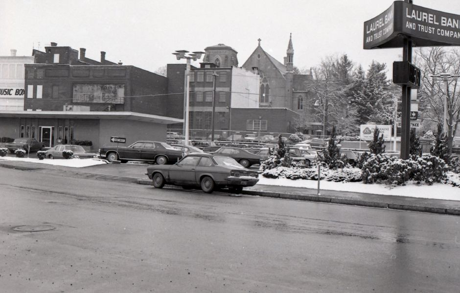 Looking towards the Meriden Train Station on State Street, March 1975.