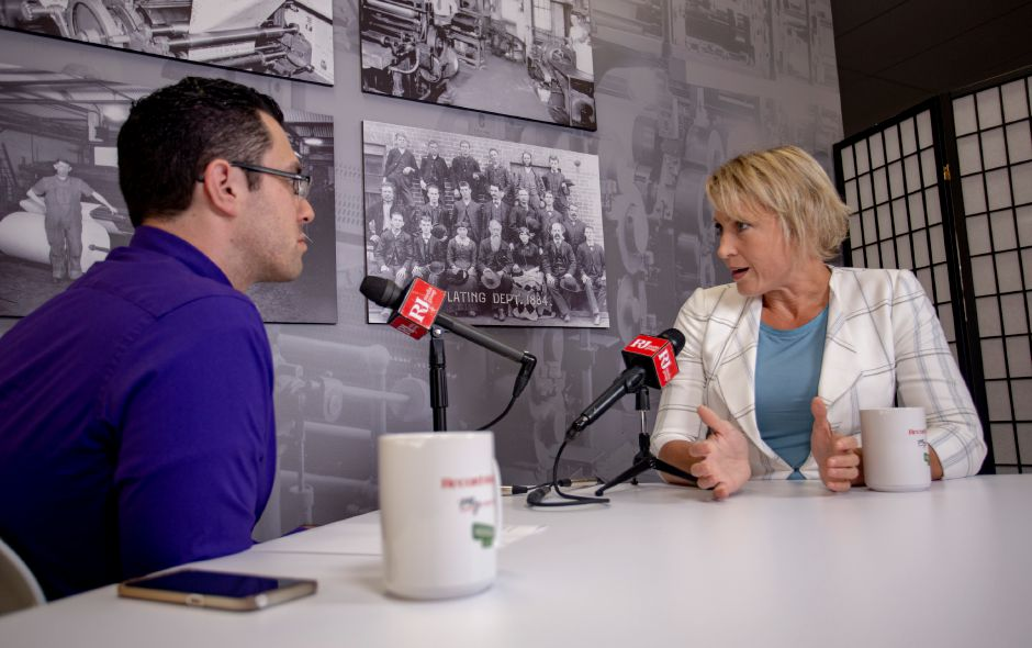 Sue Hatfield talks with Record-Journal editor Mike Savino about running for Attorney General, July 24, 2018. | Richie Rathsack, Record-Journal