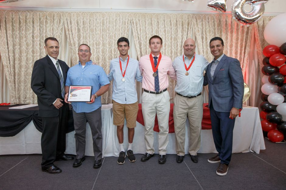 Team & Coach of the Year Coach Bill Mrowka with the Cheshire Baseball Team with Bryant Carpenter and Kevin Negandhi Sunday during the third annual Record-Journal Best of the Bunch Brunch Awards at the Aqua Turf Club in Plantsville June 24, 2018 | Justin Weekes / Special to the Record-Journal