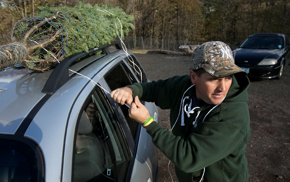 B.J. Kogut, operations manager, attaches a Christmas tree to the roof of a customer