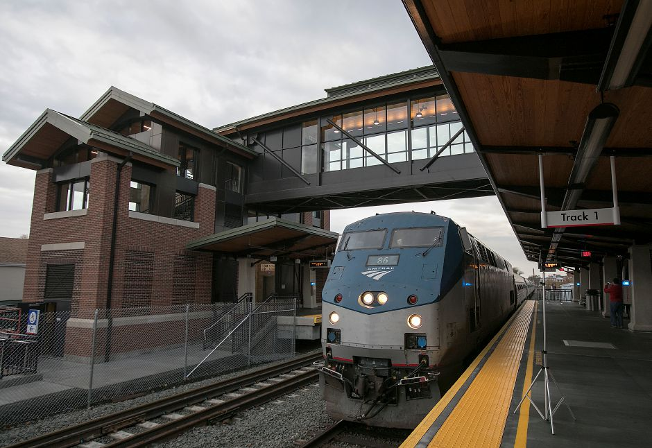 An Amtrak train pulls into the new Wallingford train station Monday, Nov. 6, 2017. The station officially opened Monday. | Dave Zajac, Record-Journal