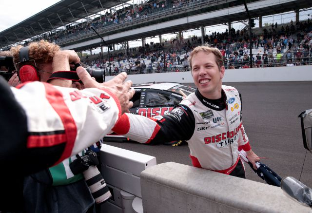 Brad Keselowski celebrates after winning the NASCAR Brickyard 400 auto race at Indianapolis Motor Speedway in Indianapolis, Monday, Sept. 10, 2018. (AP Photo/AJ Mast)