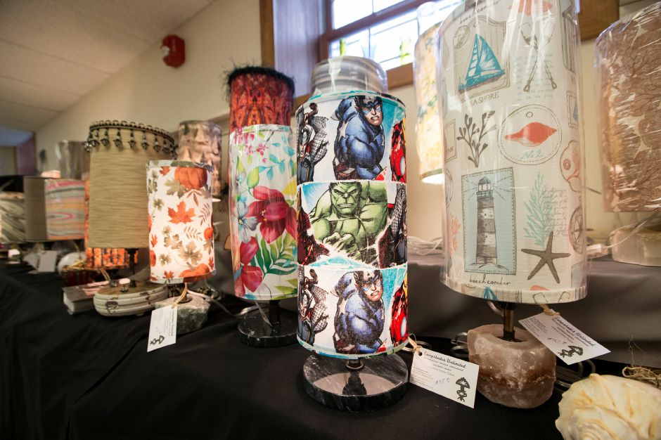 Lampshades Unlimited on display Sunday during the Artspace Marketplace at Artspace in Cheshire. November 18, 2018 | Justin Weekes / Special to the Record-Journal