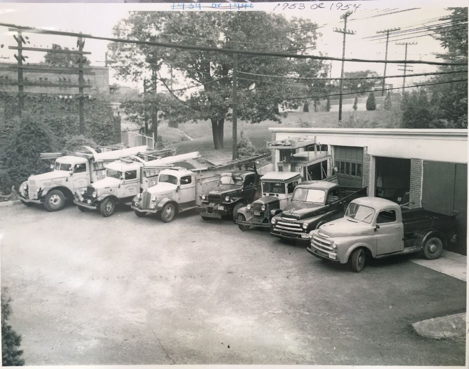 Trucks outside the the Borough of Wallingford Electric Works electricity generating plant, circa 1953. | Courtesy of Wallingford Historical Society