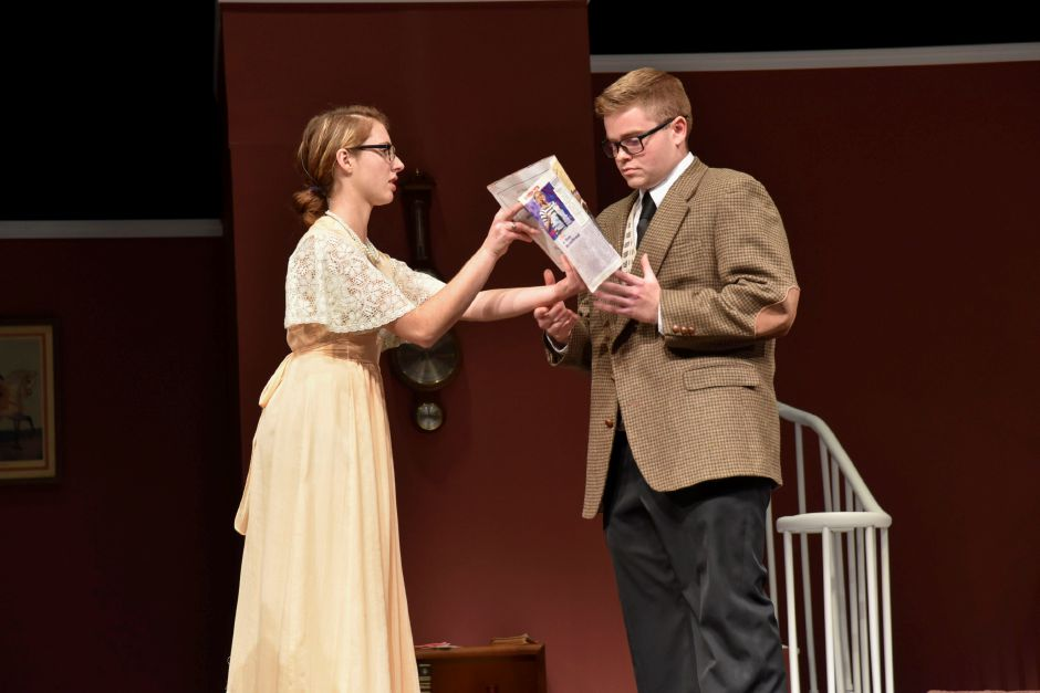 "Maloney High School theater student Jeremy Szawerda (right) rehearses ""The Man Who Came to Dinner"" with another student on Monday night. The play opens this weekend, Thursday through Saturday. 