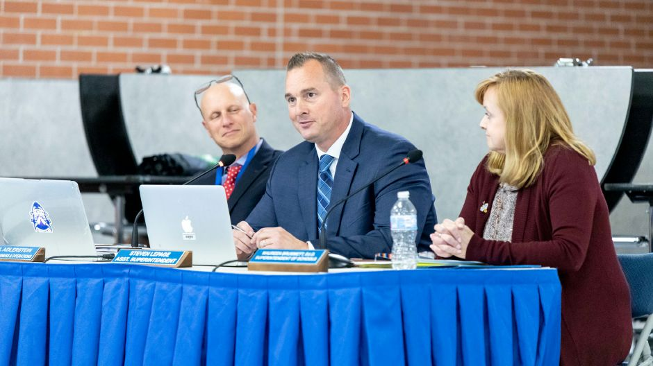 Plainville Assistant Superintendent of Schools Steven LaPage, center, was selected to take over the superintendent role after Maureen Brummett, right, steps down at the end of June 2019. Brummett will be becoming the head of Newington