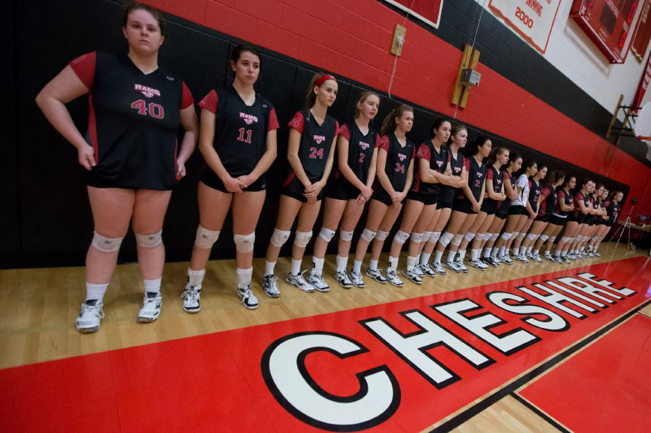 Cheshire volleyball's perfect season came to a close Wednesday night in the CIAC Class LL semifinals. The top-seeded Rams were swept by arch-rival Amity 3-0 in Naugatuck. | Justin Weekes / For the Record-Journal