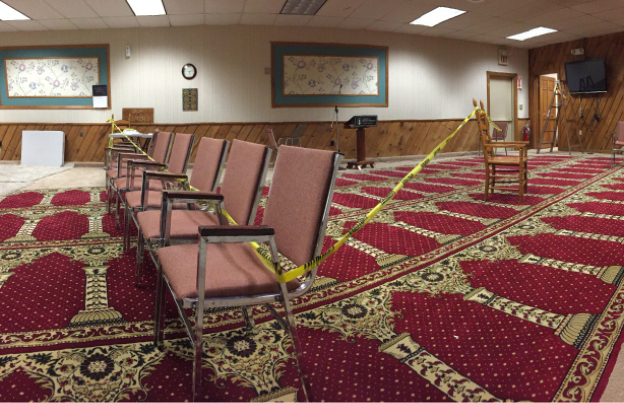 FILE PHOTO: Caution tape set up at the Baitul Aman mosque in Meriden on Tuesday, Nov. 17. | Bryan Lipiner/Record-Journal