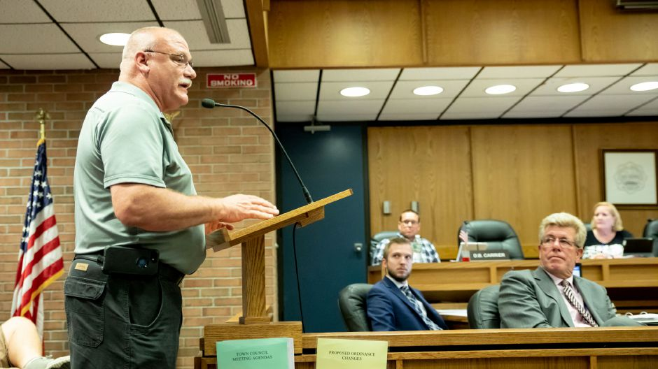 Plainville Fire Chief Kevin Toner speaks in support of a ordinance change which would allow firefighters to remain in the department was drivers past the manditory retirement age of 65. The Town Council enacted that change that night on August 20, 2018. | Devin Leith-Yessian/Plainville Citizen