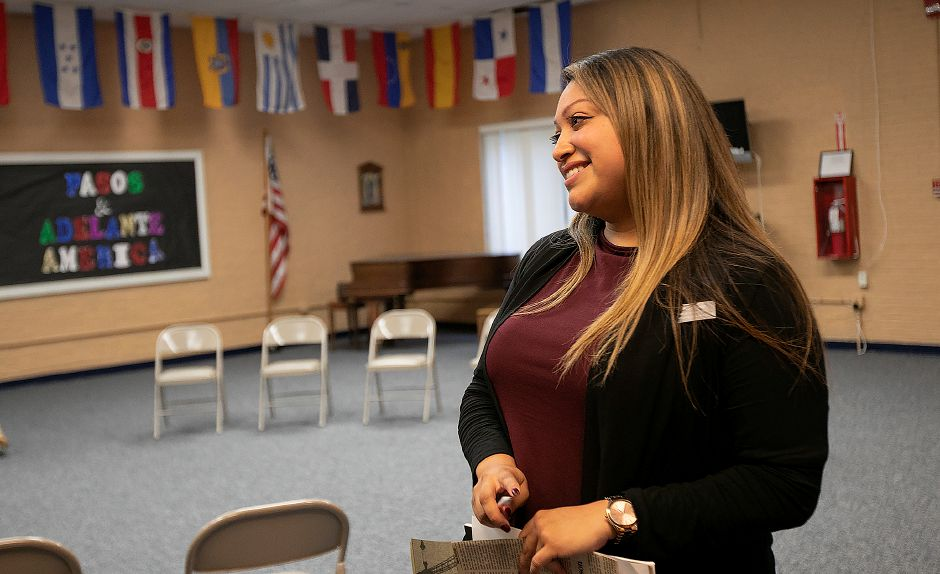 Adriana Rodriguez talks at Spanish Community of Wallingford, Monday, Oct. 15, 2018. Rodriguez is the interim director at Spanish Community of Wallingford. Dave Zajac, Record-Journal