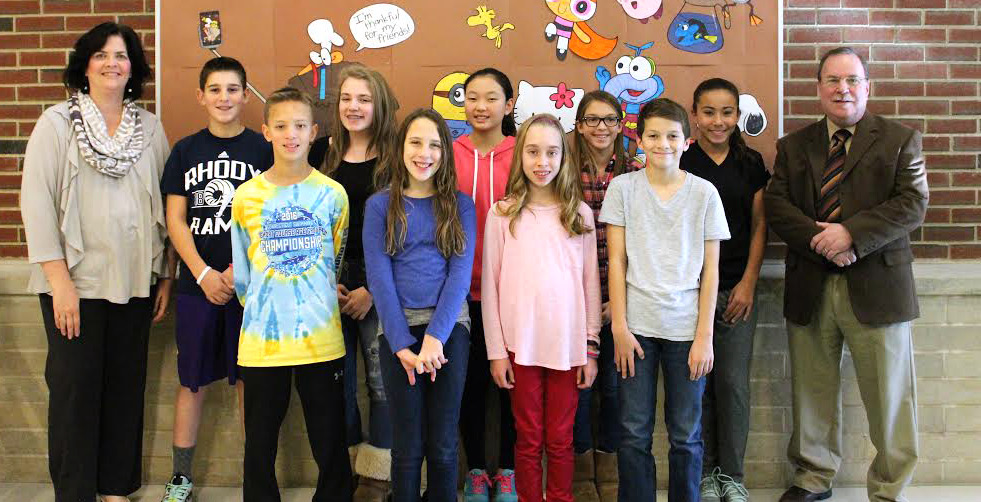 Front row: Matthew Whitaker, Sofia Davino, Alyssa Polverari, and Tyler Hubeny; back row: Susan Vitcavage, assistant principal, Jack Barnum, Brynn Godbout, Ava Hur, Madeleine Silano, Taylor Hall, and Mr. Terino, principal. Missing from photo: Kajetan Naworol.