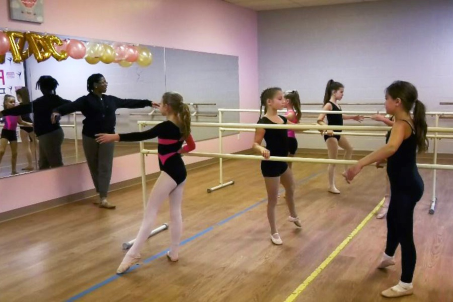 Ballet students rehearsing with instructor Aliza Cunningham for the Moscow Ballet