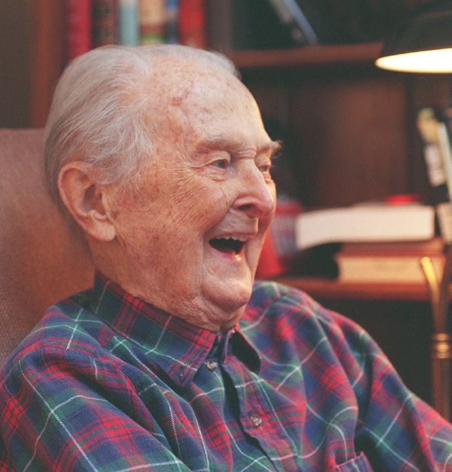RJ file photo - Henry Morehouse has a laugh while talking about his 99 years of life in his Meriden home, Jan. 1999.