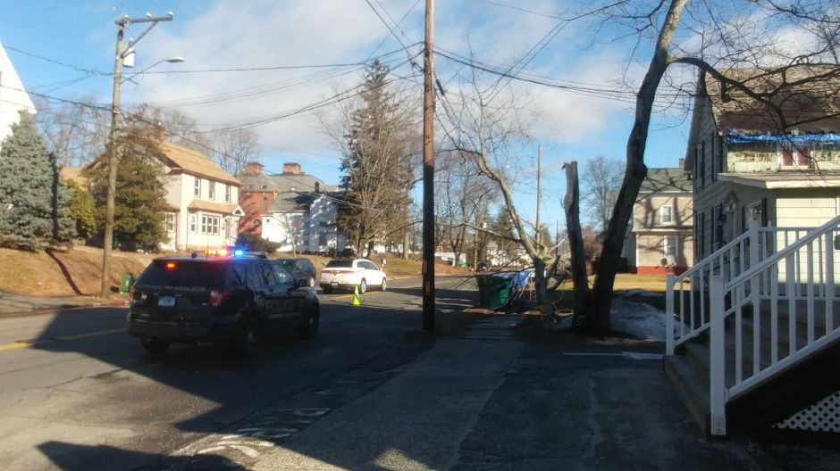Meriden police directed traffic away from a tree which had fallen on electrical lines in the area of 203 Broad Street. High wind speeds Saturday morning cause small outages across the state. | Devin Leith-Yessian/Record-Journal