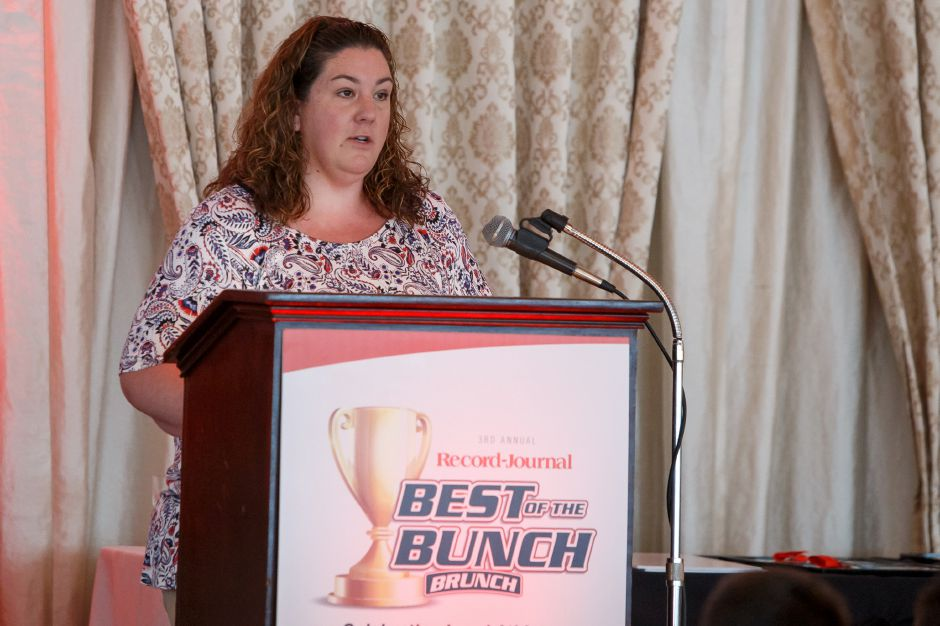 Middlesex Community College Sara Brinckerhoff awards male scholar athlete of the year Sunday during the third annual Record-Journal Best of the Bunch Brunch Awards at the Aqua Turf Club in Plantsville June 24, 2018 | Justin Weekes / Special to the Record-Journal