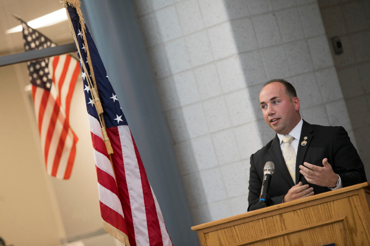 Mayor Kevin Scarpati speaks during a ribbon cutting ceremony for the new Platt High School in Meriden, Thursday, October 19, 2017.    | Dave Zajac, Record-Journal