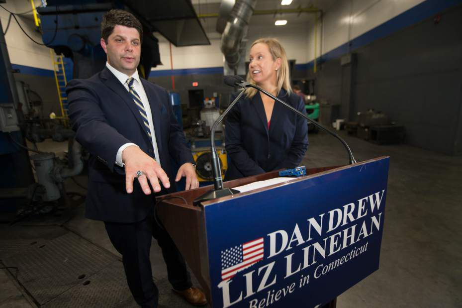 State Representative and former town councilor Liz Linehan right will join Middletown Mayor Dan Drew for his bid for Governor Wednesday at Consolidated Industries in Cheshire Sep. 6, 2017 | Justin Weekes / For the Record-Journal