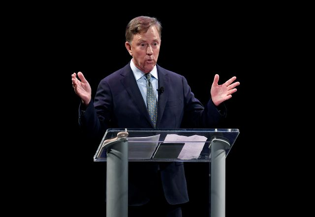 Democratic candidate for governor Ned Lamont gestures during a debate with Bridgeport Mayor Joe Ganim in New Haven, Conn., Thursday, July 12, 2018. Lamont is the party