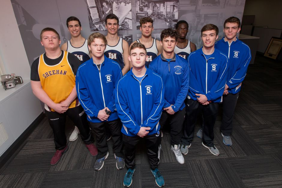 This is the boys half of the inaugural All Record-Journal Indoor Track Team. The Southington boys in blue, working left to right are Ryan Slesinski, Joe Verderame, John Carreiro, Trevor Porter and Casey Selinske. Sheehan's Cyle Martindale is on the far left. The Lyman Hall Trojans in the back, from left are Andrew Horobin, Luke Horobin, Jake Ranney and Michael Toppin. Justin Weekes, special to the Record-Journal