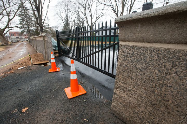 The new access from the property on Prince Street to the Center Street Cemetery Thursday in Wallingford Dec. 29, 2016 | Justin Weekes / For the Record-Journal