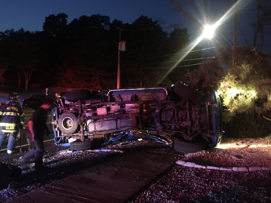One vehicle rolled over after a two-car crash on North Colony Road in Meriden Thursday night. | Bailey Wright, Record-Journal