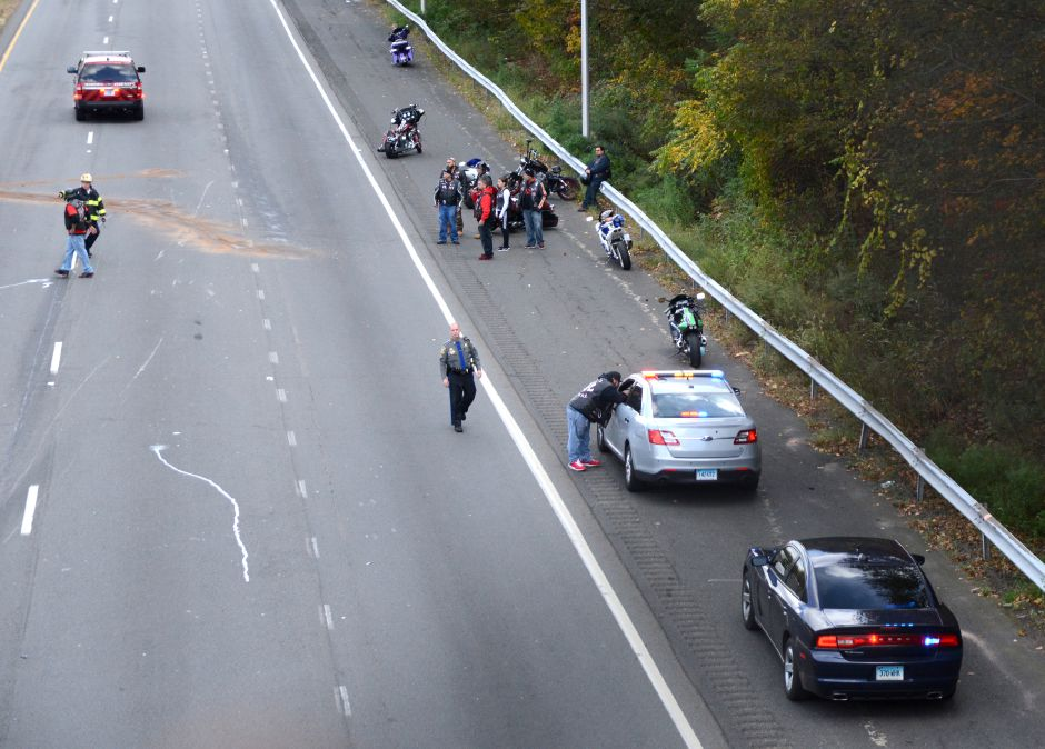 Emergency crews responded to a report of a motorycle down on Interstate 691 east in Meriden on Saturday, Oct. 28, 2017. | Bryan Lipiner, Record-Journal