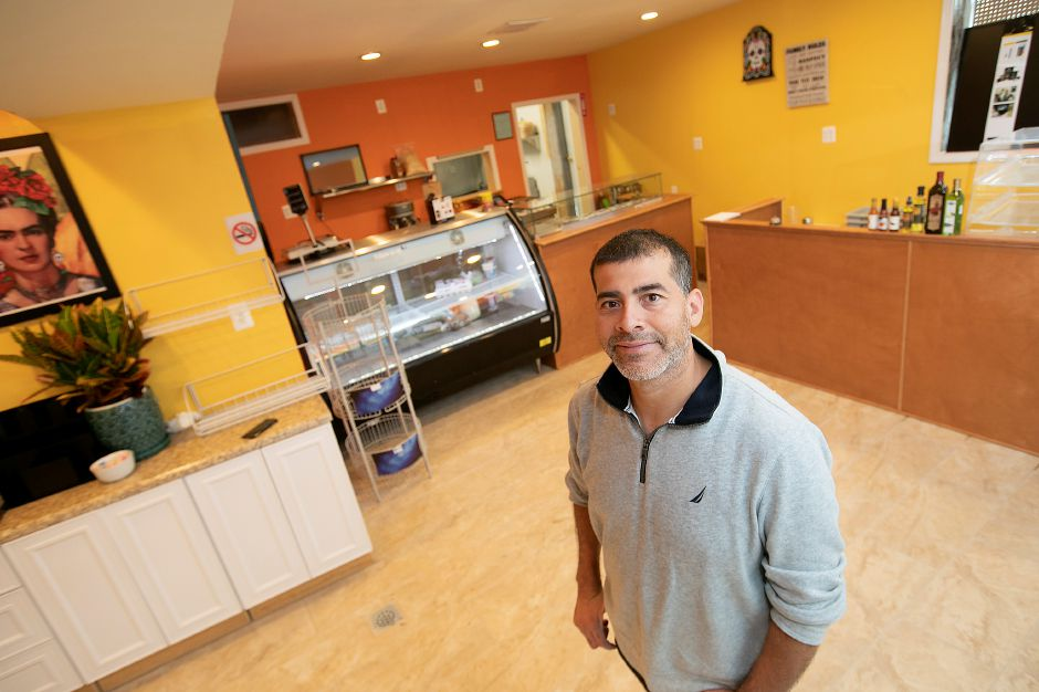 Jorge Rendon, co-owner of Frida Restaurant and Deli, a new business nearing completion in the former Noiise Sports Bar on Lewis Ave. in Meriden. Photos by Dave Zajac, Record-Journal