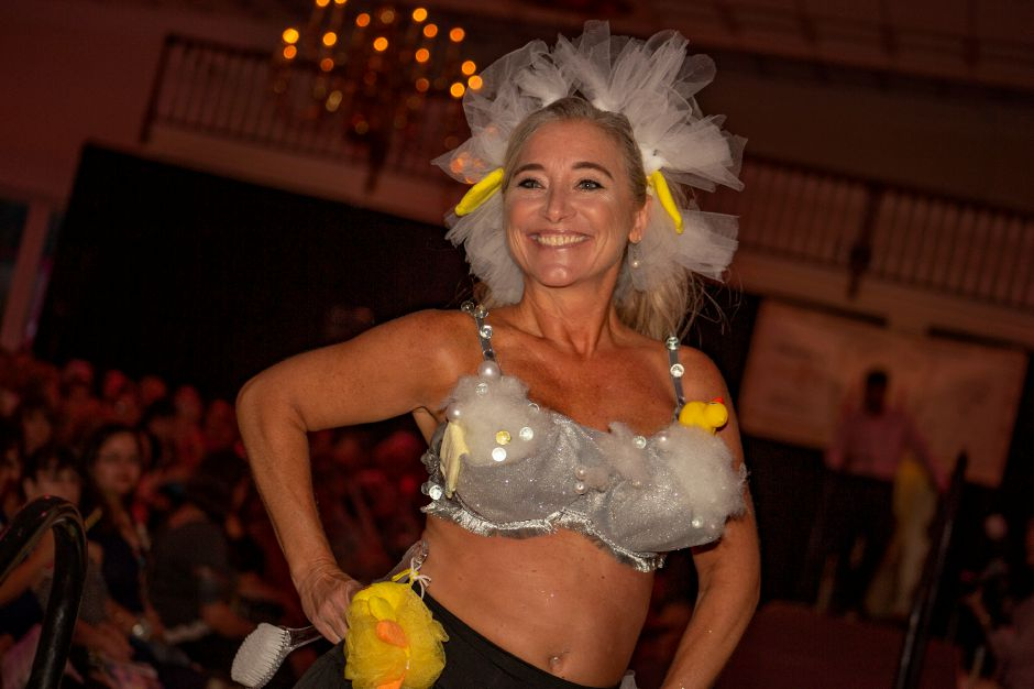 "Julie Filippone-Aresco shows off ""Splish Splash"" during the Art Bra 2018 Runway Show and Auction Aug. 9, 2018 at the Aqua Turf in Southington. 