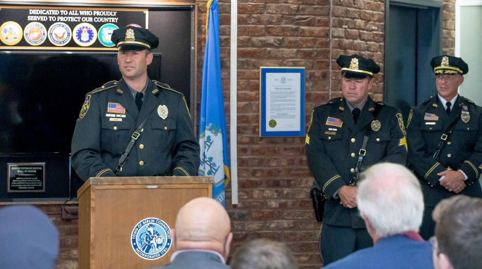 Berlin Police Lieutenant Shawn Solek speaks during his promotion ceremony, held in the Berlin Town Hall on August 26, 2019. | Devin Leith-Yessian/Berlin Citizen